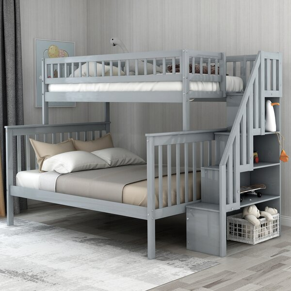 Figueroa Stairway Twin over Full Bunk Bed with Shelves by Trule Teen