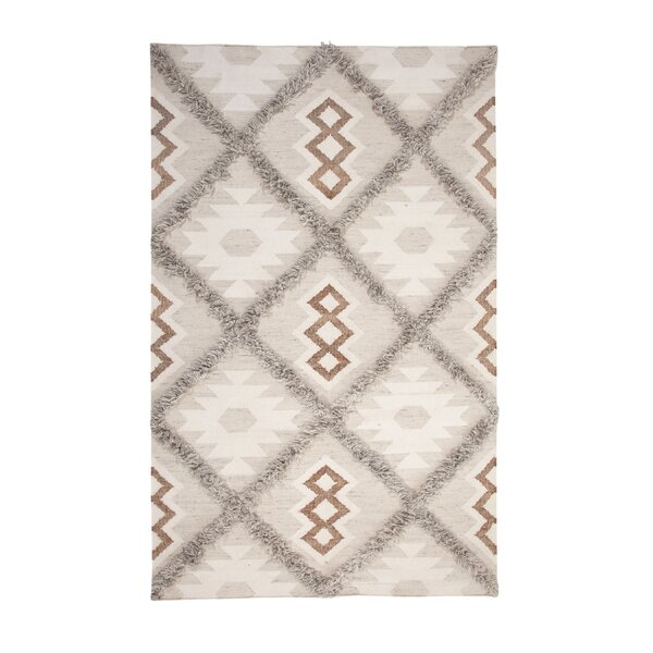 Addison Avenue Hand Woven Wool Gray/Ivory Area Rug by Foundry Select