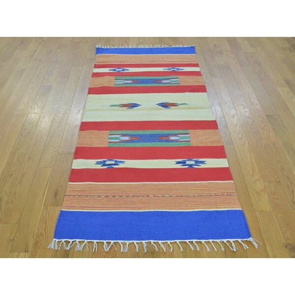 One-of-a-Kind Bonnett Design Handmade Kilim Wool Area Rug by Isabelline