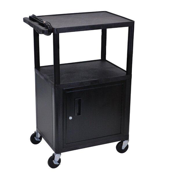 Open Shelf Endura Equipment AV Cart with Locking Cabinet by Luxor