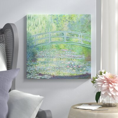 """'The Waterlily Pond with the Japanese Bridge' Painting Print on Wrapped Canvas Lark Manor Size: 26"""" H x 26"""" W x 0.75"""" D"""