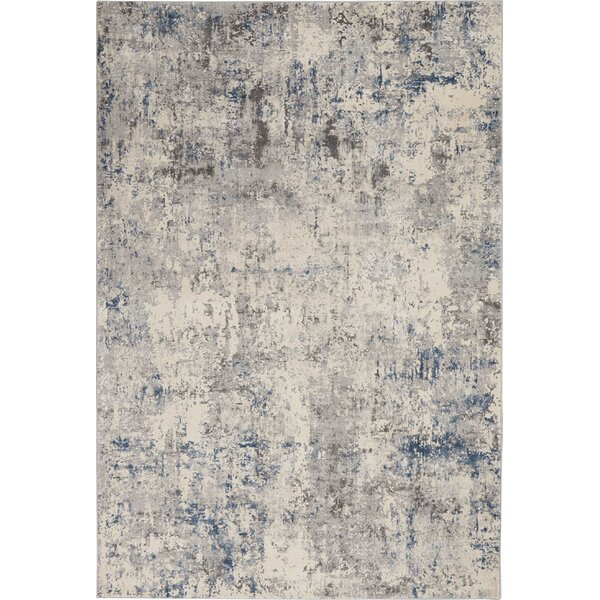 Mallery Textures Abstract Ivory/Blue Area Rug