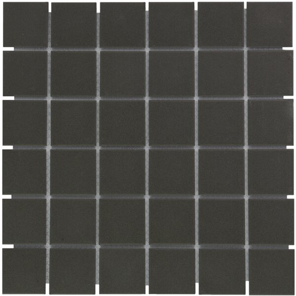London 2 x 2 Porcelain Mosaic Tile in Dark Gray by The Mosaic Factory