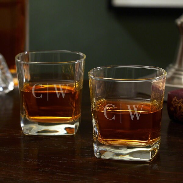 Aidan 10 oz. Glass Whiskey Glass (Set of 2) by Alcott Hill