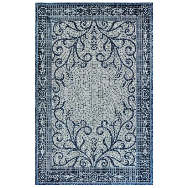 Arverne Mosaic Navy Indoor/Outdoor Area Rug by Charlton Home