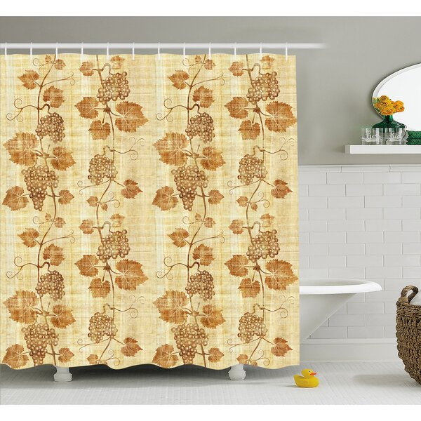 Grapes Cuisine Figure on Ancient Egyptian Papyrus Parchment Aged Crumpled Artwork Shower Curtain Set by Ambesonne