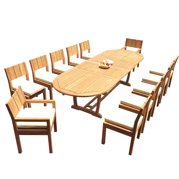 Shawnee 13 Piece Teak Dining Set by Rosecliff Heights