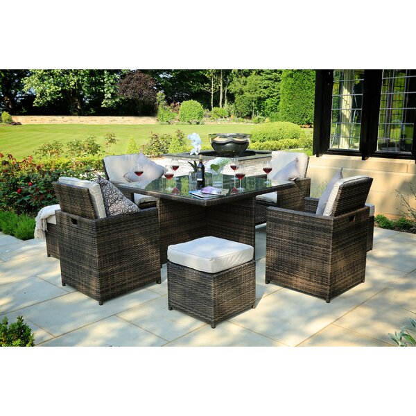 Saffo 9 Piece Dining Set with Cushions Bayou Breeze W000221255