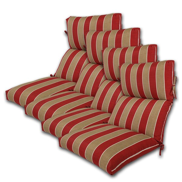 Reversible Indoor/Outdoor Lounge Chair Cushion (Set of 4)