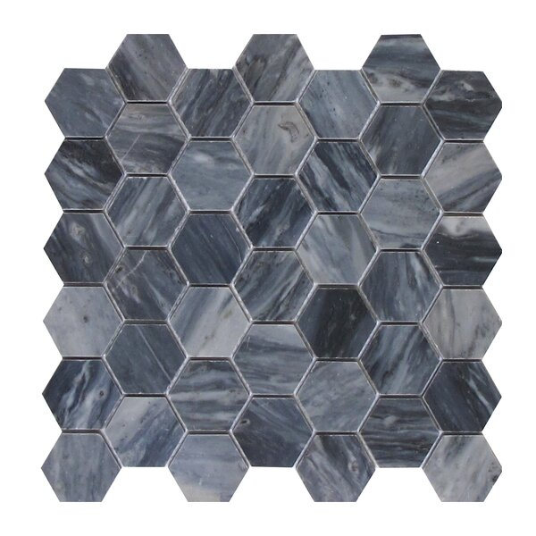 Bardiglio 2 x 2 Marble Mosaic Tile in Dark Gray by Seven Seas