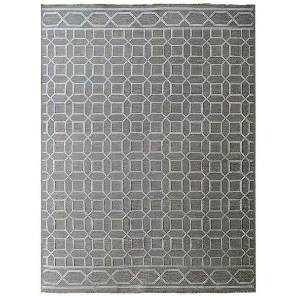 Ry Sumak Geometric Hand-Knotted Gray Area Rug by Latitude Run