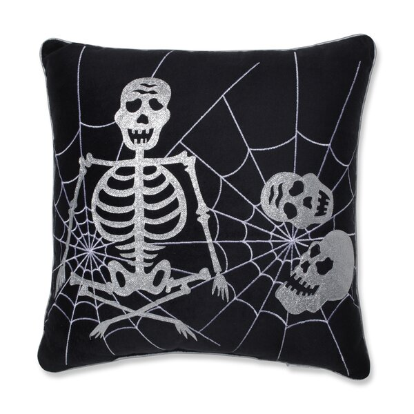 Skeleton in Web Cotton Throw Pillow by The Holiday Aisle
