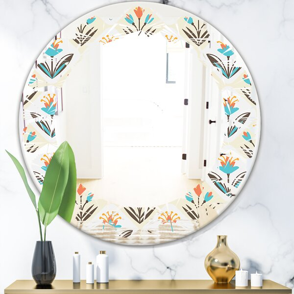 Pattern with Floral Ornament Leaves Cottage Americana Frameless Wall Mirror