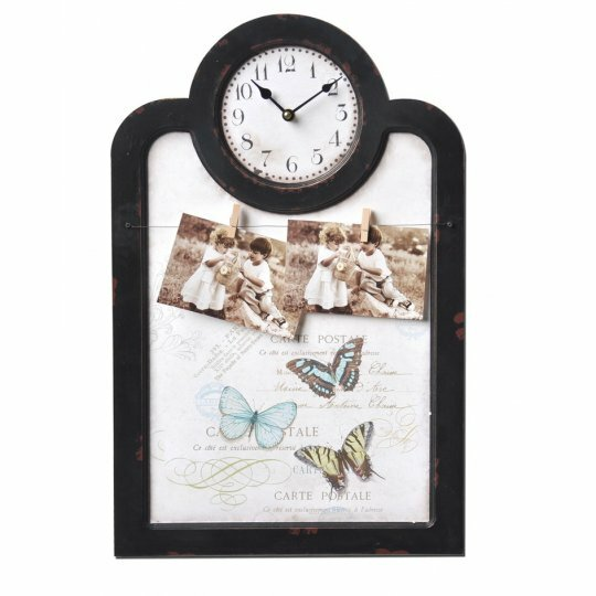 Basilio Wire and Peg Collage Wooden Frame 13.5 Rectangular Wall Clock by One Allium Way