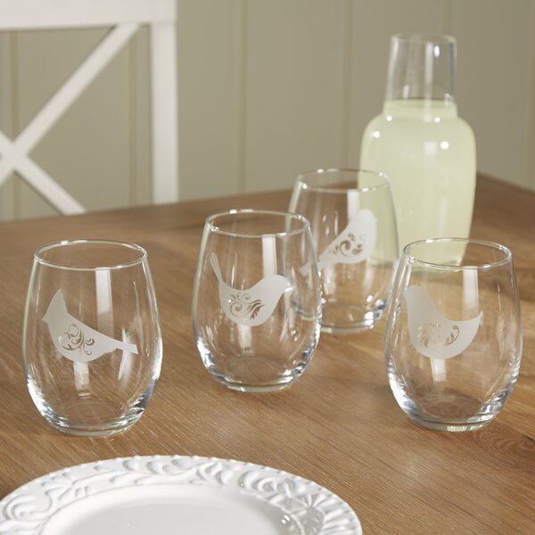 Birds of a Feather Stemless Wine Glass (Set of 4) by Birch Lane™