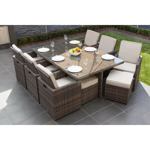 Cranon 11 Piece Dining Set with Cushions Bayou Breeze W000849074
