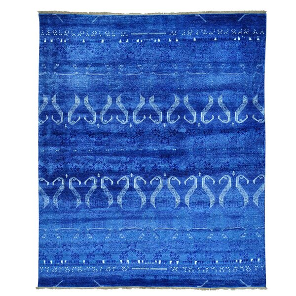 One-of-a-Kind Greenpoint Kilim Flat Weave Hand-Knotted Denim Blue Area Rug by Bloomsbury Market