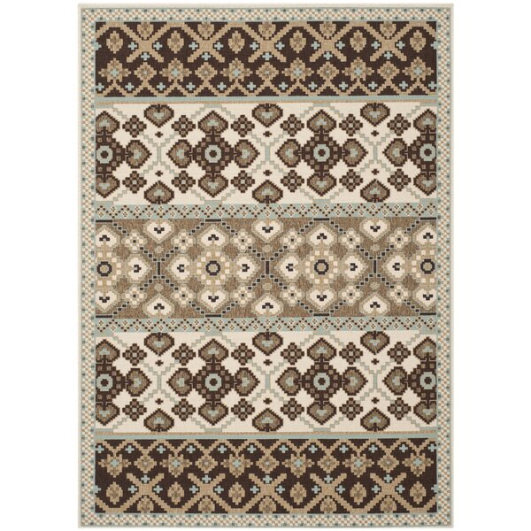 Tierney Cream/Chocolate Indoor/Outdoor Area Rug by Andover Mills