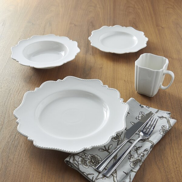 Pinpoint White 16 Piece Place Setting Set by Red Vanilla