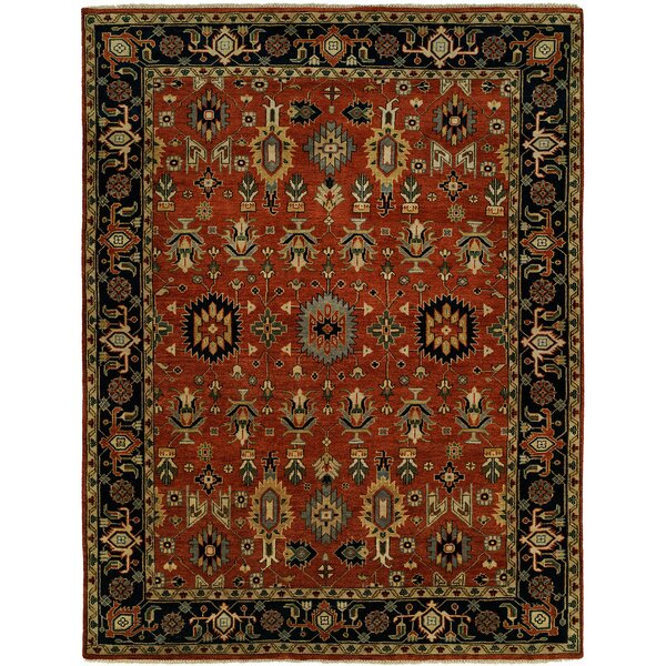 Doreen Hand Knotted Wool Rust/Black Area Rug by Darby Home Co