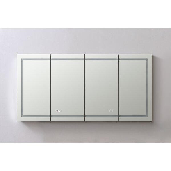Nutter Recessed or Surface Mount Frameless 4 Doors Medicine Cabinet with 12 Adjustable Shelves and LED Lighting and Electrical Outlet