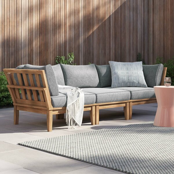 Anthony Outdoor Teak 3 Piece Patio Chair Set with Cushions by Foundstone