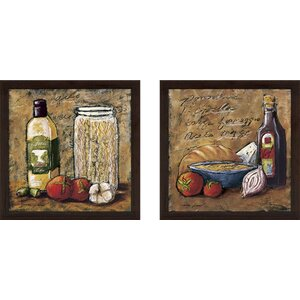 Rustic Kitchen II' 2 Piece Framed Acrylic Painting Print Set Under Glass by Fleur De Lis Living