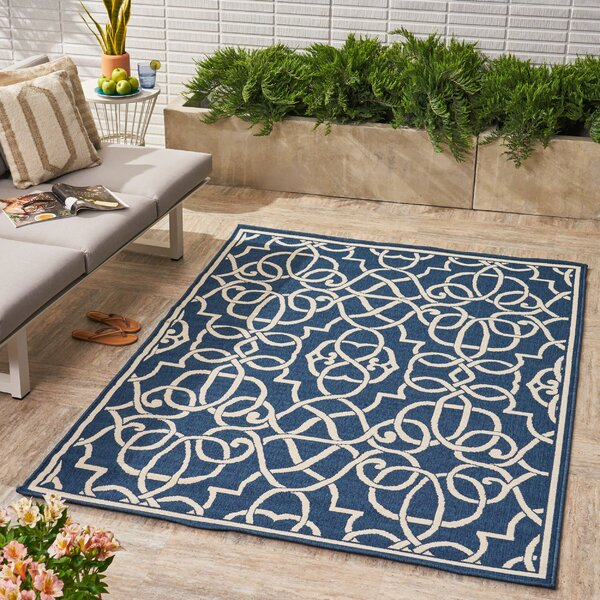 Heritage Geometric Navy Indoor/Outdoor Area Rug by Alcott Hill