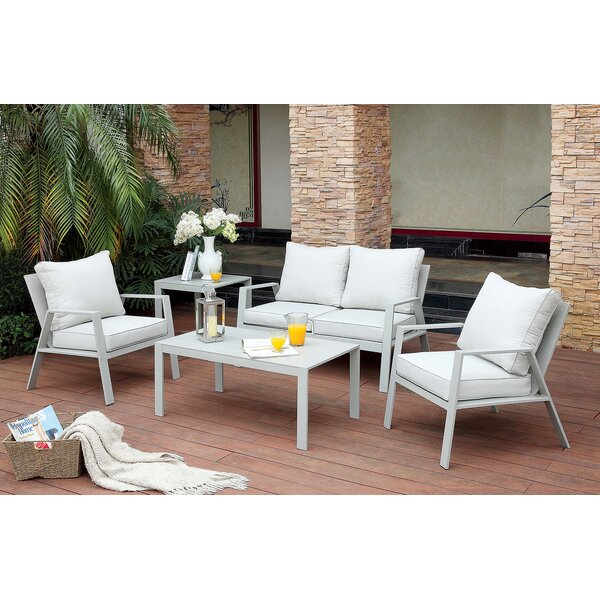 Belleville 4 Piece Conversation Set with Cushions by Rosecliff Heights