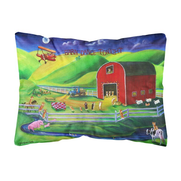 Love Corgi Barn Dance Fabric Indoor/Outdoor Throw Pillow by Winston Porter
