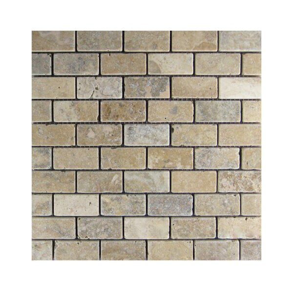Tumbled 1 x 2 Natural Stone Mosaic Tile in Brown/Gray by QDI Surfaces