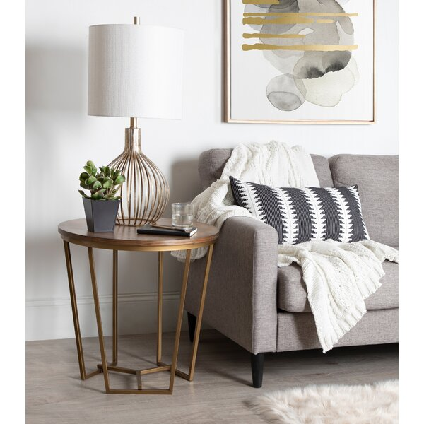 Denison Round Wood and Metal End Table by Everly Quinn