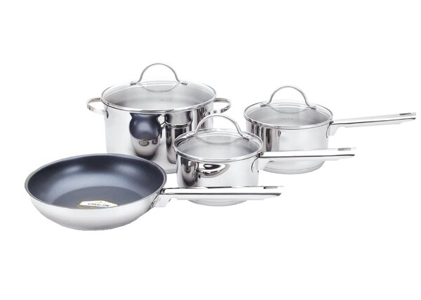 Cosette 8 Piece Round Non-Stick Stainless Steel Cookware Set by Symple Stuff