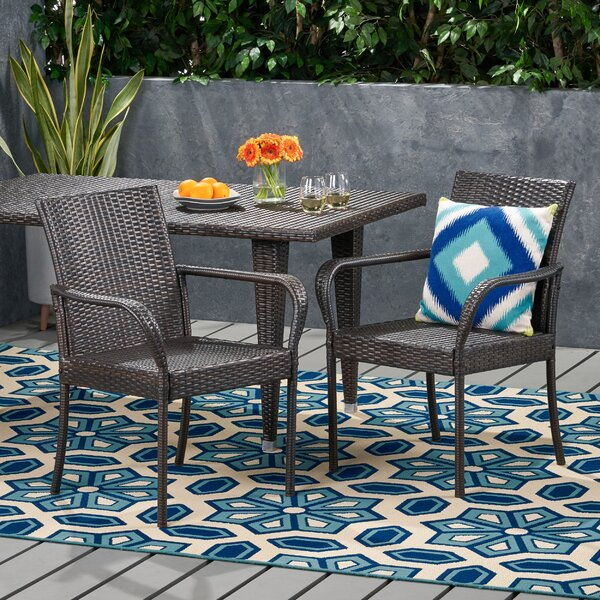 Amaya Outdoor Contemporary Wicker Dining Chair (Set Of 2) (Set of 2) by Highland Dunes