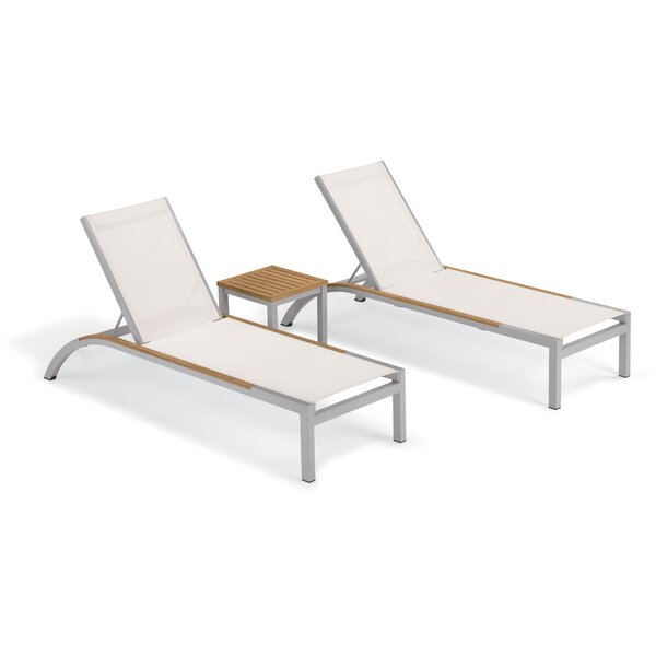 Saleem Reclining Chaise Lounge Set with Table