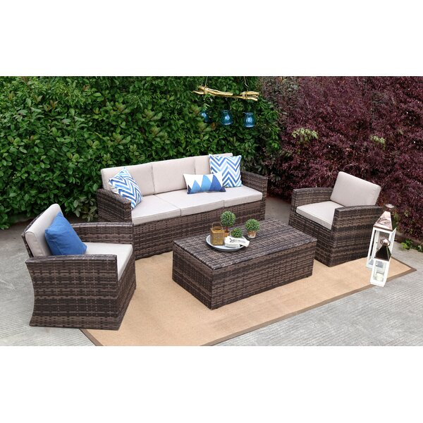 Homerville 4 Piece Rattan Sofa Seating Group with Cushions by Rosecliff Heights