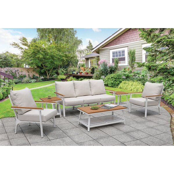 Kurtz Patio Sofa with Cushions by Rosecliff Heights