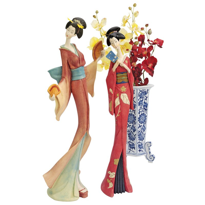 2 Piece Japanese Maiko Geisha Fan Dancer Statue Set