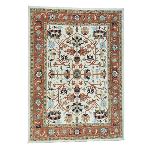 One-of-a-Kind Rueter Peshawar Hand-Knotted Ivory Area Rug by Astoria Grand
