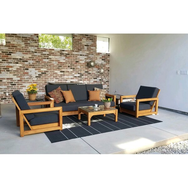 Kaitlyn 4 Piece Teak Seating Group with Sunbrella Cushions by Foundry Select