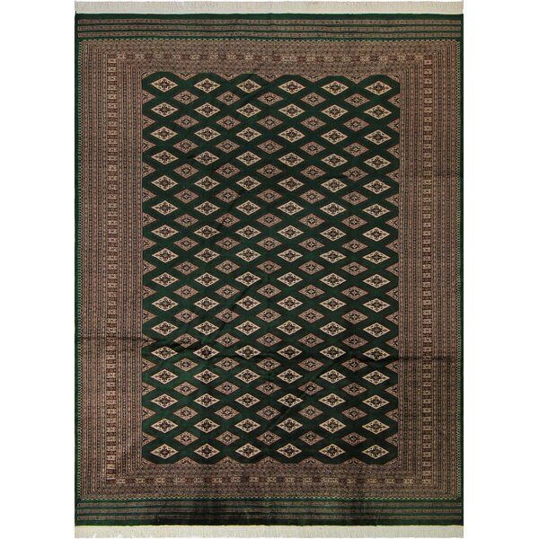 One-of-a-Kind Abril Hand-Knotted Wool Green/Tan Area Rug by Isabelline