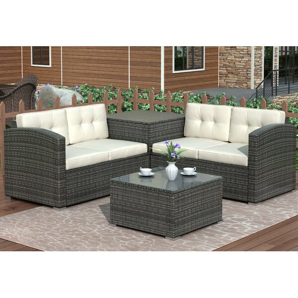 Carmi 4 Piece Rattan Sectional Seating Group With Cushions By Latitude Run