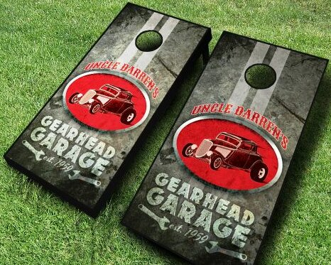 Personalized Gearhead Garage Cornhole Set by AJJ Cornhole