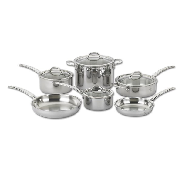 Tri Ply 10 Piece Stainless Steel Cookware Set by Lenox