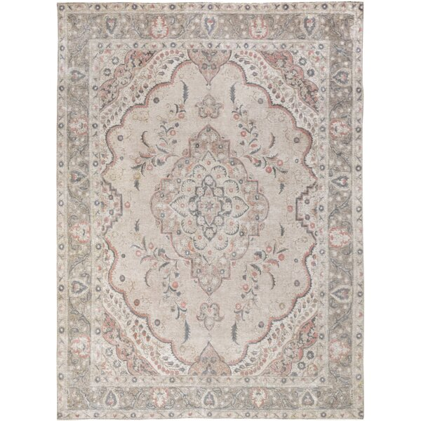 One-of-a-Kind Fernandez Hand-Knotted Wool Beige/Gray Area Rug by Isabelline