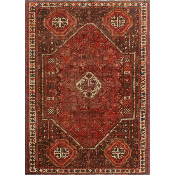 One-Of-A-Kind Brook Hand-Knotted Wool Black/Red Area Rug by Isabelline