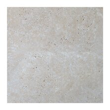 Light Tumbled 4 x 4 Travertine Field Tile in Gray by Seven Seas