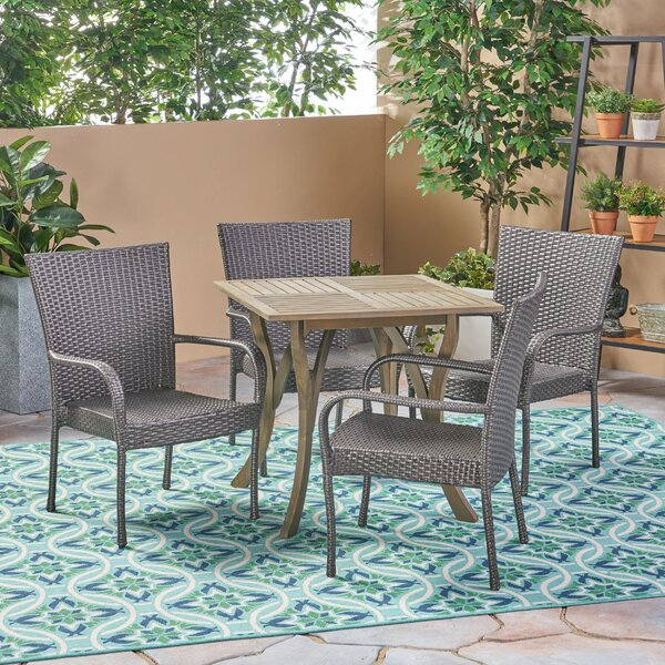 Crosby Outdoor 5 Piece Dining Set by Bungalow Rose