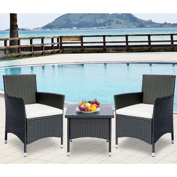 Favian 3 Piece Rattan Seating Group with Cushions by Ebern Designs
