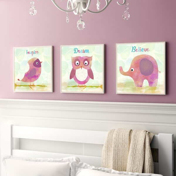Paxson Bird, Owl, Elephant - Inspire, Dream, Believe 3 Piece Wall Plaque Set by Harriet Bee